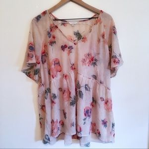 Lucky Brand Floral Blouse, 2X See notes